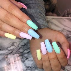 32 pastel-colored summer art designs so that nails .- 32 pastel-colored summer art designs so that nails make an impression # impress # with - Bright Summer Acrylic Nails, Purple Acrylic Nails, Square Acrylic Nails, Pastel Nails, Acrylic Nail Designs, Art Pastel, Nail Pink, Bright Blue Nails, Nail Art Designs