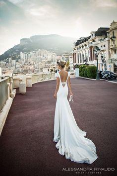 alessandra rinaudo 2017 bridal cap sleeves v neck simple clean elegant sheath wedding dress open low v back chapel train (beverly) bv