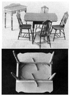"""Helen Dorsett (1985). Economy Breakfast Set (dropleaf table, side chairs, and server) from Sears, Roebuck (c. 1930). Complete 1"""":1' plans, patterns, and instructions. In The Scale Cabinetmaker, Volume 9:1. Issue available as digital download from dpllconline.com. Issue price: $6."""