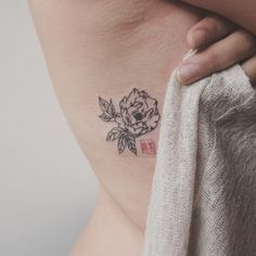 Small peony with chinese seal - Tattoo People - Jess Chen