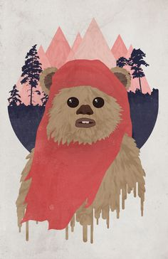 """Ewok"" Available for purchase at Society 6 as art print, t-shirt, hoodie, ipod/iphone case, throw pillow and more! $16.00"