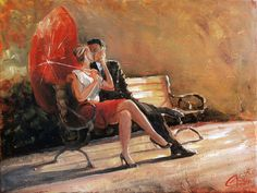 This is an original oil painting for sale by fine artist Christopher Clark. This romantic couple shares a kiss on a lovely sunny afternoon in the park. The red umbrella adds just a touch of romance as these two exchange sentiments of love as if no one was watching. Own this original oil painting today and you can share in the romance and magic of a gentle kiss in the park.