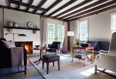 Upsatate Colonial House Living Area by New York based Interior Designer Kevin Isbell