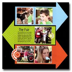 """Brightly Colored """"The Fair"""" Scrapping Layout...with paper arrows journaling. By Pammy - Scrapbook.com."""