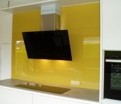 Mustard Yellow Glass Kitchen Splashback Glass Kitchen, Kitchen Colors, Lighted Bathroom Mirror, Kitchen, Yellow Kitchen, Kitchen Splashback, Splashback, Bathroom Mirror, Home Decor