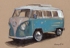 Original Painting VW Bus Hippie Retro Vintage Auto Kombi Watercolor Sketch Drawing 5x7 Line and Wash - Blue Bus by David Lloyd