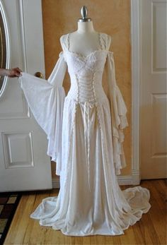 Gowns Pagan Wicca Witch:  Lady Gwen Lace Up Fantasy Medieval Velvet and Lace #Gown, by RomanticThreads.