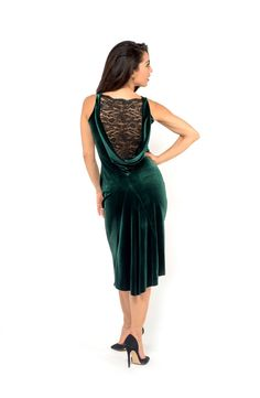 » Velvet draped back tango dress with lace