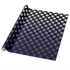 "Purple Polka Dots on black Wrapping Paper   Artwork designed by karlajkitty. Made by Zazzle Home  Purple to lavender gradient of polka dots on a black background.  Choose from 4 types of paper and 5 sizes. Made and printed in the USA! Click on the ""Customize It"" button for options.  Artwork and design by Karlajkitty"