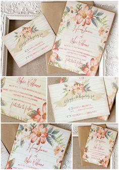 Peach and aqua floral wedding invitation | watercolor | Sunshine and Ravioli