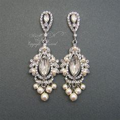 Chandelier Bridal EArrings, Rhinestone Pearl Wedding Earrings, Bridal Jewelry, Vintage Style White Ivory Pearls Rhinestone Earrings on Etsy, $68.00