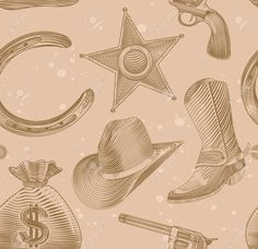 Cowboy Seamless In Stile Incisione - Illustrazione Vettoriale Clipart  Royalty-free 295ff15bf0cb