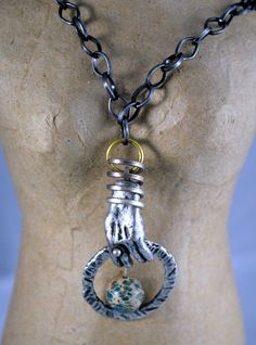 Antiqued Door Knocker Necklace. Mixed Metals Sediment Jasper Vintage Gift Sale. $36.00, via Etsy.