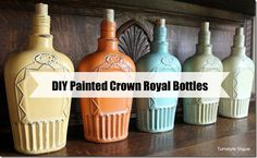 Painted Crown Royal Bottles - instructions are in a link.