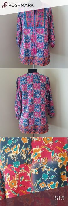 """Colorful Floral Pattern Tunic Top Like New Condition!  Fun, colorful tunic with 3/4 length sleeves and braided tassels in front. 100% polyester. 27"""" Length.  Size Medium by Dress Barn. Dress Barn Tops Tunics"""