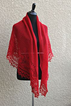 This hand knit #shawl is made of 100% wool in lovely crimson red color. The shawl is half-circle shape and perfectly wide to wrap around the body. Laced edge adds feminine l... #kgthreads #accessories #elegant #fashion #gift #handknit #handknitted #knitting #lace #stole
