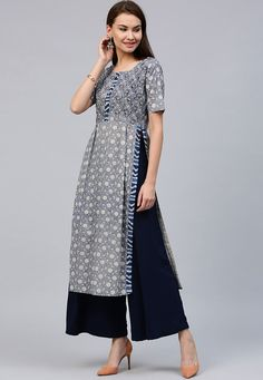 Cotton Kurta in Grey This Eye Captivating Readymade attire is Enhanced with Floral Print and is Carved in Round Neck and Half Sleeve ideas how to wear loafers women casual fashion Simple Kurti Designs, Salwar Designs, Kurta Designs Women, Kurti Designs Party Wear, Blouse Designs, Kurta Patterns, Dress Patterns, Look Fashion, Indian Fashion
