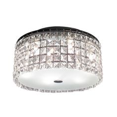Elegant Crystal Shade for Flush Mount Ceiling Light with Black Base and Bright Light