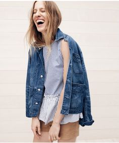 """J.Crew button-back striped peplum top, denim chore jacket with patch pockets and 3"""" stretch chino short."""