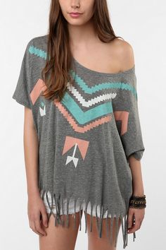 Title Unknown Native Chief P.E. Oversized Fringe Tee $39.00 urban outfitters you will be the death of my bank account