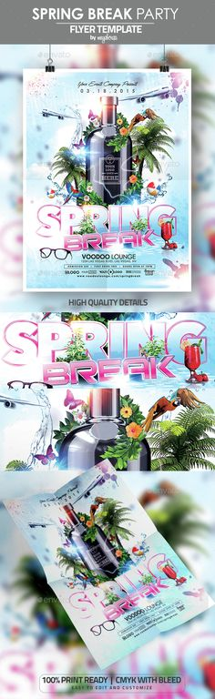 Spring Break Party Flyer / Poster Template,3d, ball, beach, break, butterflies, colorful, easter, flowers, gloss, graduation, modern, parrots, party, shine, sleek, sound, spring, summer, vacation, vibrant
