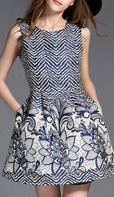 White Chevron And Floral Sleeveless Jacquard Skater Dress