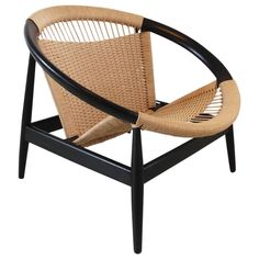 Illum Wikkelsø Easy Chair Ringstol Model 23 for Niels Eilersen, Denmark | From a unique collection of antique and modern lounge chairs at https://www.1stdibs.com/furniture/seating/lounge-chairs/