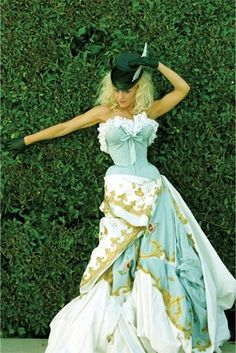 "blue and white silk moire dior haute couture gown worn by Gwen Stefani in her ""What you waiting for?"" music video"