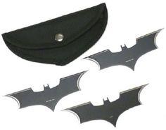$34.95 Batman Dark Knight Bat Symbol Shape Ltd. Ed. Collectibles Throwing Knives x3 DC Comics Sporting Hunt