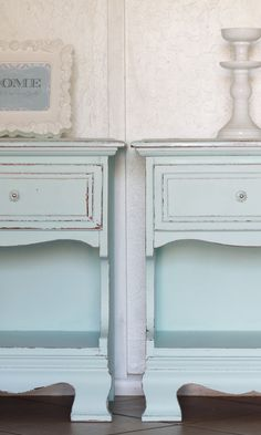 aqua nightstands-For refinishing the dresser distressed