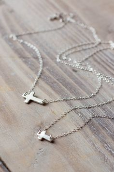 Sideways Cross Necklaces - Mother Daughter Necklace Set - Sterling Silver - Small Cross and Large Cross - Christmas Gift on Etsy, $47.00
