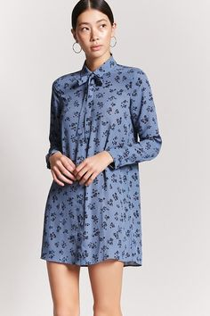 FOREVER 21 Floral Print Shirt Dress A woven shirt dress featuring an allover floral print, a basic collar with self-ties, button front, long sleeves with button cuffs, and a boxy silhouette. Forever 21 Outfits, Floral Print Shirt, Dress For Success, The Dress, Who What Wear, Winter Outfits, Latest Trends, Celebrity Style, Cold Shoulder Dress