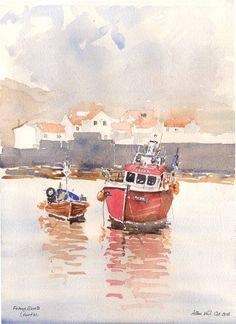 Fishing Boats, Painting, Art, Art Background, Painting Art, Kunst, Paintings, Performing Arts, Painted Canvas