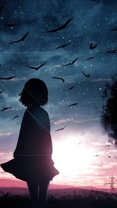 Before the sunset night Beautiful Wallpaper Anime Backgrounds Wallpapers, Anime Scenery Wallpaper, Pretty Wallpapers, Animes Wallpapers, Cute Anime Wallpaper, Girl Wallpaper, Night Sky Wallpaper, Galaxy Wallpaper, Fille Blonde Anime