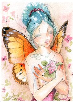 ACEO - Rose fairy by sanguigna on DeviantArt Fairy Land, Fairy Tales, Betty Boop, Winter Fairy, Decoupage, Flower Fairies, Miniature Fairy Gardens, Pictures To Paint, Mythical Creatures