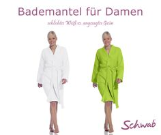 #Bademantel für Damen: vom schlichten Weiß bis zum angesagten Grün findet Ihr viele Modelle im Sortiment. #DamenBademantel