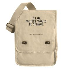 Writers Quote Field Bag on CafePress.com