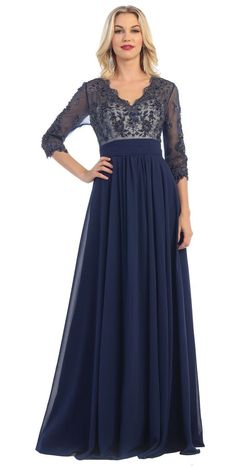 Long Mother of the Bride Formal Dress-The Dress Outlet