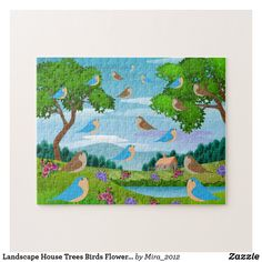 Landscape House Trees Birds Flowers Nature, Age 8 Jigsaw Puzzle #birdspuzzles #naturepuzzles #puzzleseightyearolds #puzzlesage8 #landscapepuzzles #birdsflowerstreespuzzles
