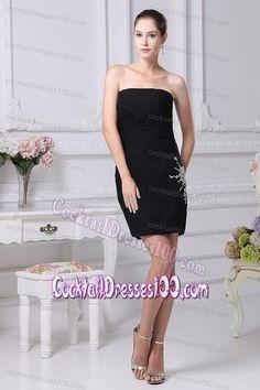 Brand New Sheath Black Chiffon Cocktail Dress with Zipper Up Back