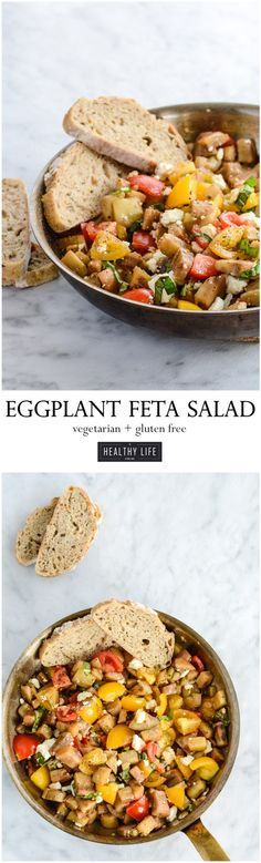Eggplant Feta Salad is the perfect combination of sautéed garden fresh eggplant, tomatoes, fresh basil and marinated in a balsamic olive oil dressing.  - A Healthy Life For Me
