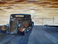 original TONY LEWIS painting hot rod ratrod vintage classic car..retro 30s ford