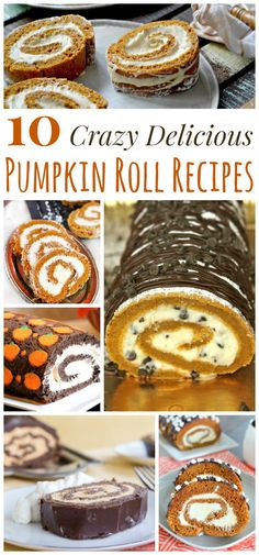 10 Crazy Delicious Pumpkin Roll Recipes - tasty twists on your favorite fall dessert recipe, the classic pumpkin cake roll! Pumpkin Roll Cake, Pumpkin Cake Recipes, Fall Dessert Recipes, Thanksgiving Desserts, Pumpkin Dessert, Fall Recipes, Just Desserts, Pumpkin Rolls, Pumpkin Log Recipe