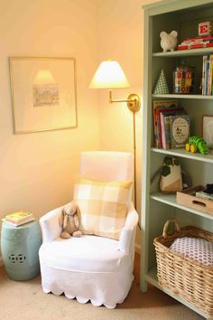 E's Sweet and Neutral Nursery Project Nursery - chair corner_lowres Nursery Modern, Nursery Neutral, Hemnes Bookcase, House In The Clouds, Painted Bookshelves, Nursery Bookshelf, Toddler Chair, Wrought Iron Patio Chairs, Nursery Room