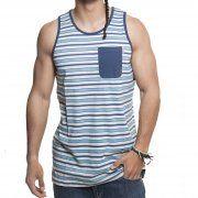 Camiseta sin mangas Santa Cruz: Vest Oceanside Blue Stripe BL