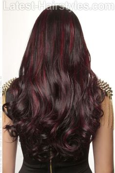 New hair color highlights red black brunettes ideas Night Hairstyles, Pretty Hairstyles, Formal Hairstyles, Hairstyle Men, Funky Hairstyles, Wedding Hairstyles, Layered Hairstyles, Celebrity Hairstyles, Love Hair