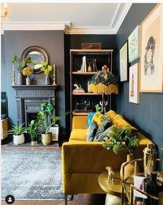 Mustard Living Rooms, Navy Living Rooms, Boho Living Room, Home And Living, Living Room Decor, Small Living, Farrow Ball, Cosy Lounge, Dark Lounge