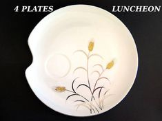 Vintage Luncheon Snack Plates Lipper Mann Gold Silver Wheat L