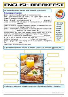 A simple vocabulary worksheet on breakfast foods. It includes 2 vocabulary tasks (gap-filling and labelling a picture). Then students have to write about their. English Teaching Materials, English Teaching Resources, Teaching English Grammar, English Language Learning, English Activities, English Vocabulary, French Language, English Reading, English Fun