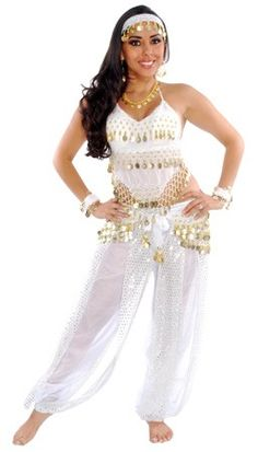BELLY DANCER HAREM GENIE COSTUME (WHITE/GOLD) - Item #5237 on www.bellydance.com